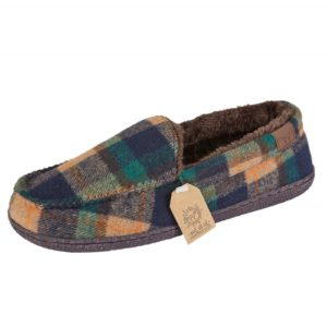 Mens Jo & Joe McKenzie Check Moccasin Slippers