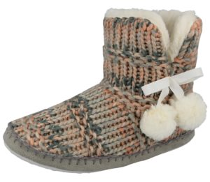 Cara Mia Women's Cable Knit Pom Pom Slipper Boots - Old Pink