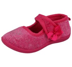 Kella Girl's Glitter Touch & Close Mary Jane Slippers