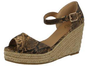 Fabulous Fabs Women's Metallic Faux Leather Wedge Sandals - Camel