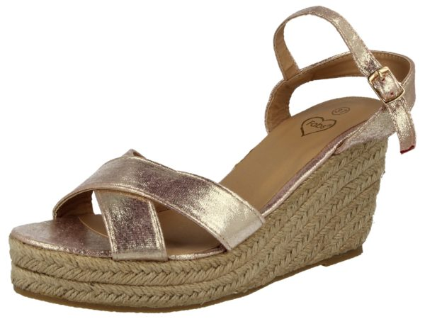 Fabulous Fabs Women's Metallic Faux Leather Wedge Sandals - Pink