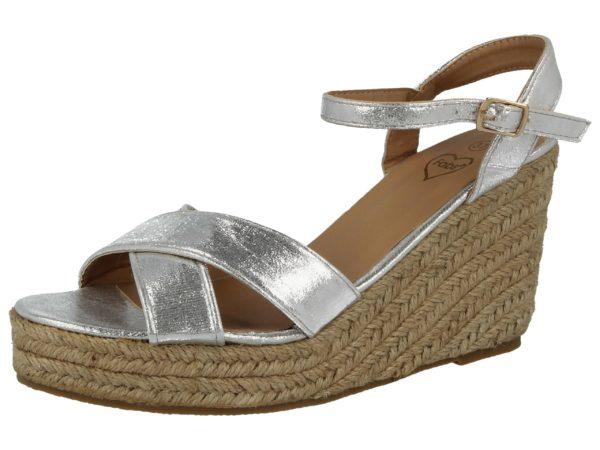 Fabulous Fabs Women's Metallic Faux Leather Wedge Sandals - Silver