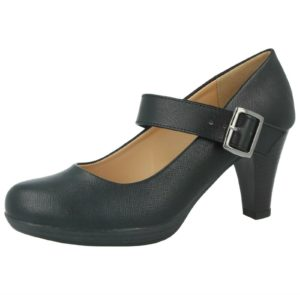 Caravelle Women's Black Faux Leather Buckle Mary Jane Shoes