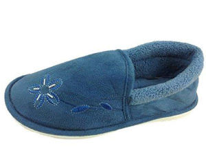 Dunlop Women's Fleece Lined Flower Slippers - Blue