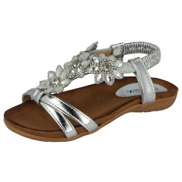 Chix Girls Faux Leather Flower Diamante T-Bar Sandals - Silver