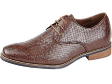 Bottesini Men's Faux Leather Lace Up Oxford Brogues - Brown