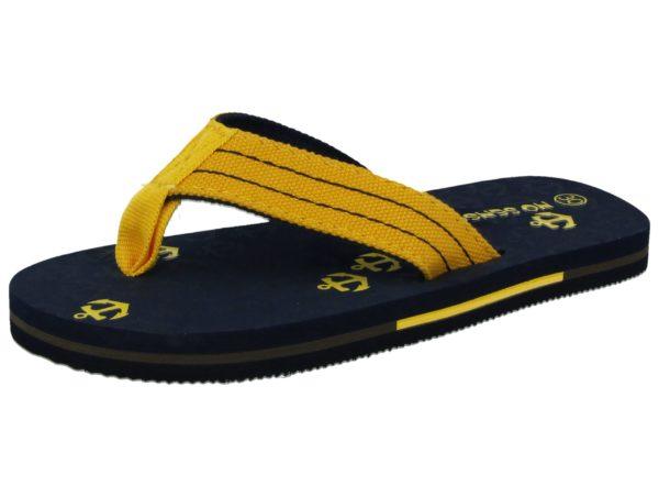 No Sense Women's Synthetic Anchor Print Toe Post Flip Flops - Yellow