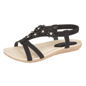 Jo & Joe Women's Faux Leather T-Bar Flower Sandals - Black