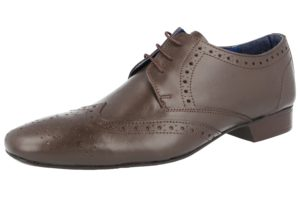 Sidewalk Men's Soft Leather Oxford Lace Up Brogues - Brown