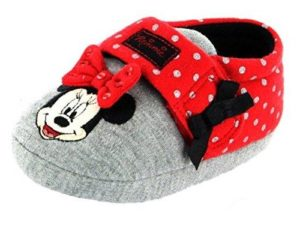 Disney Minnie Mouse Girls Textile Touch & Close Slippers