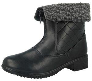 antonio womens faux leather sheepskin trim zip ankle boot