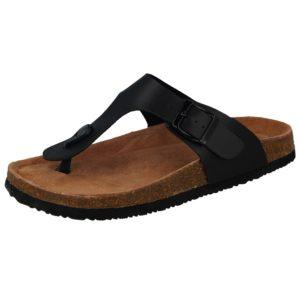 bio womens faux leather buckle sandal black