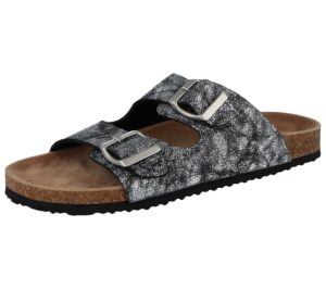 bio womens-metallic snake print slider sandal silver