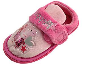 Peppa Pig Girls Fleece Touch & Close Slippers