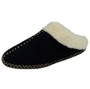 cara mia womens faux suede slip on mule slipper black
