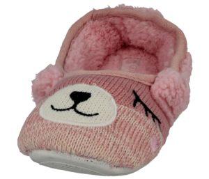 cara mia novelty bear slip on mule slipper pink