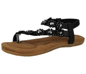 chix womens metallic faux leather flower sandal black