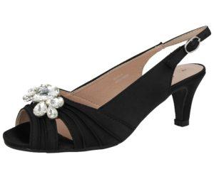 comfort plus womens satin diamante buckle kitten heel black