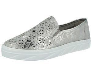 crosby womens leather laser cut silver casual sneaker