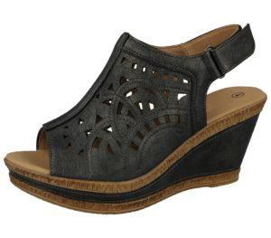 cushion walk womens metallic faux leather open toe sandal black