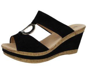 cushion walk womens faux leather open toe mid wedge sandal black