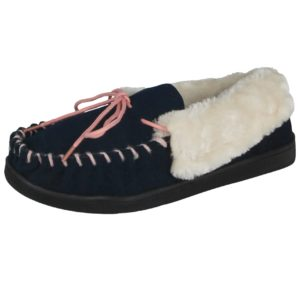 cushion walk womens suede moccasin slipper navy