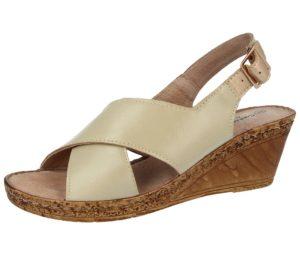 cushion walk womens faux leather cross strap wedge sandal beige