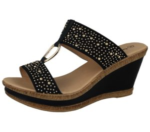 cushion walk faux leather stud wedged sandal black