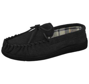 cushion walk mens suede moccasin slipper black
