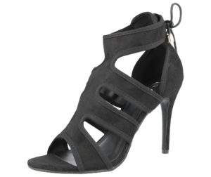 ella womens faux suede peep toe stiletto high heel black