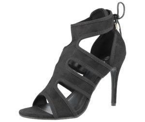 ella womens faux suede peep toe stiletto high heel black