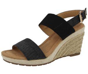 emma womens faux leather peep toe wedge sandal black