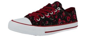 galop womens breathable canvas floral print low top trainer black red