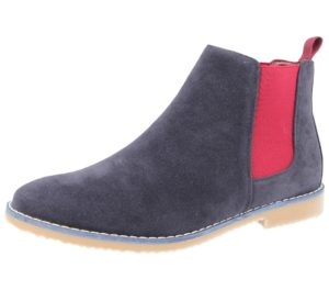 groundwork mens faux suede pull on chelsea boot navy burgundy