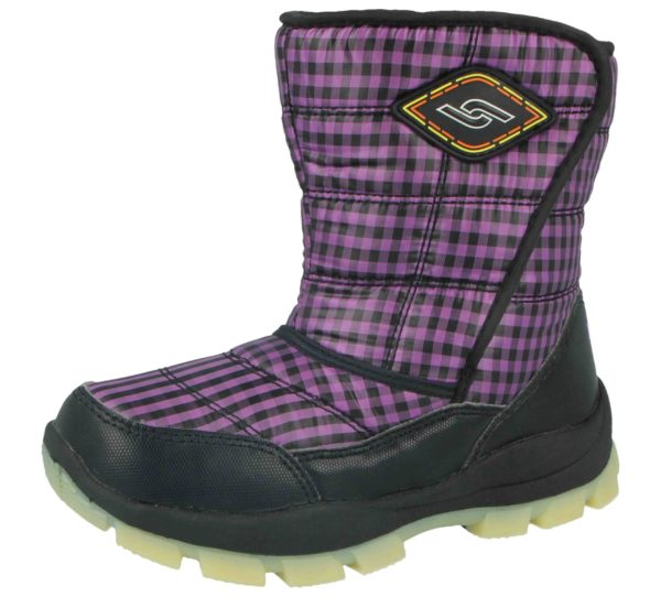 Yijiabao Unisex Fleece Lined Gingham Touch & Close Winter Boots - Black Purple