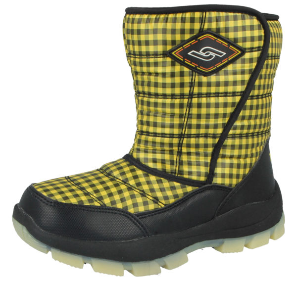 Yijiabao Unisex Fleece Lined Gingham Touch & Close Winter Boots - Black Yellow