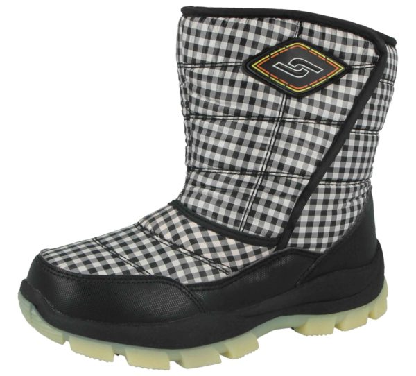 Yijiabao Unisex Fleece Lined Gingham Touch & Close Winter Boots - Black White
