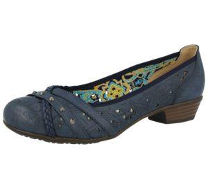 Coconel Women's Faux Leather Laser Cut Court Shoes - Navy