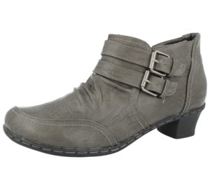 Coconel Women's Faux Leather Double Buckle Ankle Boots - Dark Grey