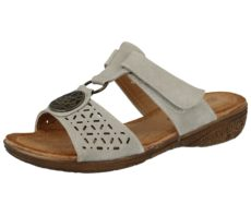 Antonio Dolfi Women's Faux Leather Touch & Close Sandals - Light Grey
