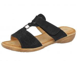 Antonio Dolfi Women's Faux Leather T Bar Slip On Sandals