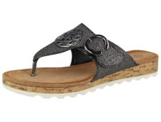 Antonio Dolfi Women's Faux Leather Metallic Toe Post Sandals - Gun Metal