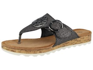 Antonio Dolfi Women's Faux Leather Metallic Toe Post Sandals - Gun Metal