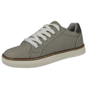 Antonio Dolfi Women's Faux Leather Lace Up Trainers - Light Grey