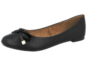 Coconel Women's Faux Leather Slip On Ballet Flats - Black