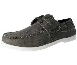 Stallion Men's Faux Leather Slip On Boat Shoes - Grey