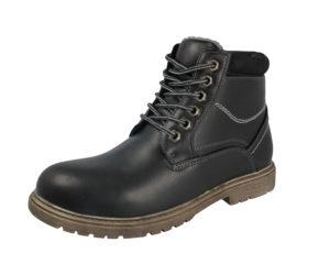Stallion Men's Black Faux Leather Lace Up Combat Boots