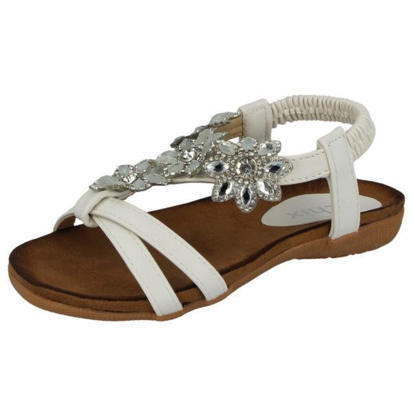 Chix Girls Faux Leather Flower Diamante T-Bar Sandals - White