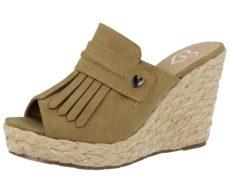 Fabulous Fabs Women's Faux Suede Fringe Open Toe Sandals - Khaki