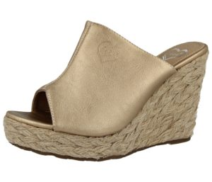 Fabulous Fabs Women's Gold Faux Leather High Wedge Sandals